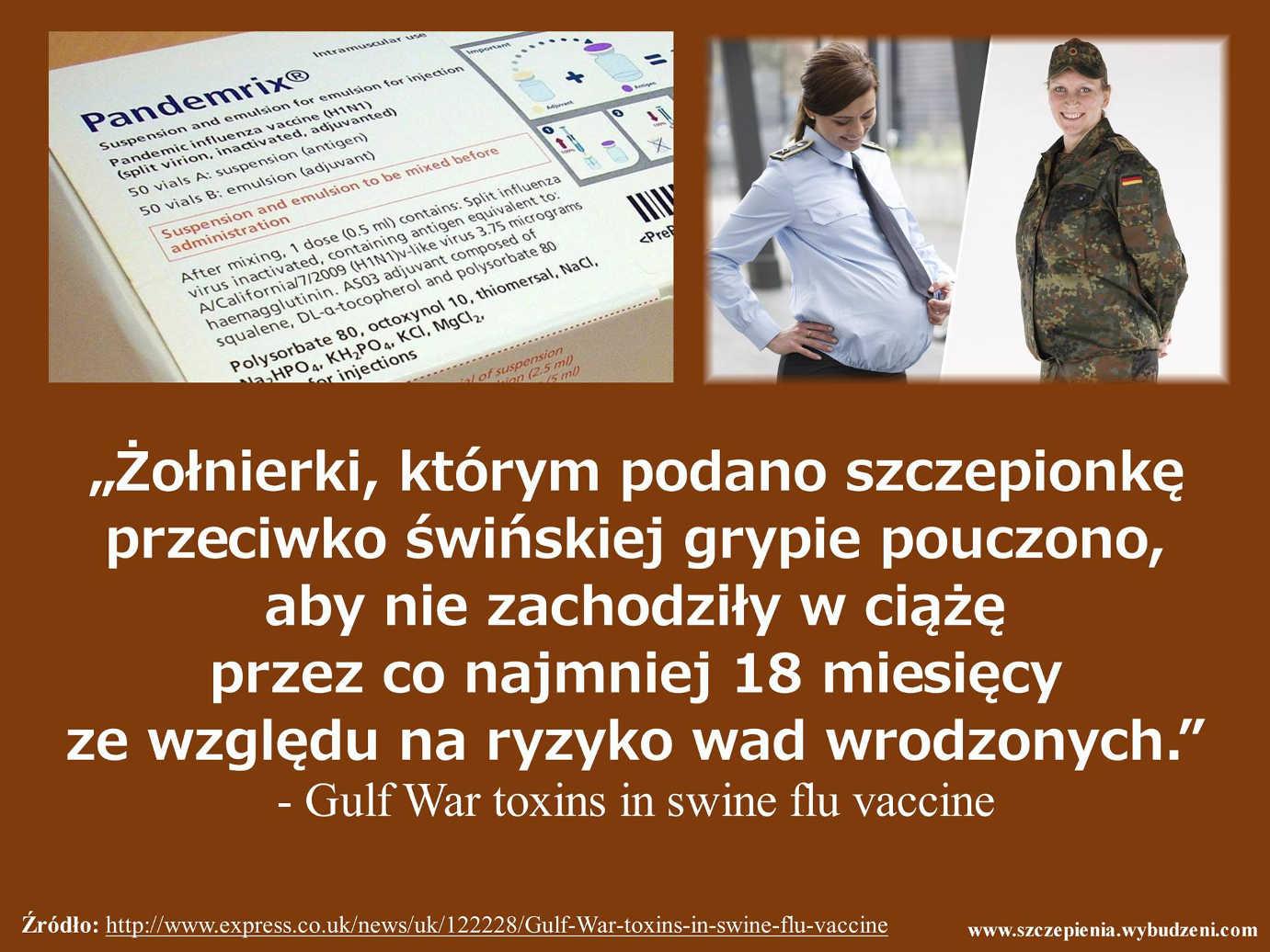 """""""Żołnierki, którym podano szczepionkę przeciwko świńskiej grypie pouczono, aby nie zachodziły w ciążę przez co najmniej 18 miesięcy ze względu na ryzyko wad wrodzonych/'"""