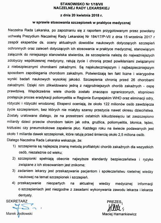 STANOWISKO Nr 1/18/VII NACZELNEJ RADY LEKARSKIEJ z dnia 20 kwietnia 2018 r. w sprawie stosowania szczepionek w praktyce medycznej