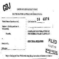 Byli naukowcy firmy Merck wnieśli sprawę przeciwko koncernowi na podstawie False Claims Act