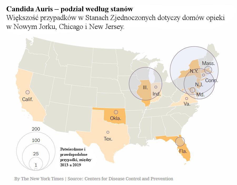 Candida Auris – podział według stanów