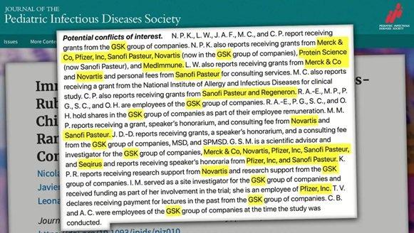 Porównanie bezpieczeństwa szczepionek MMR - ilość konfliktów interesów