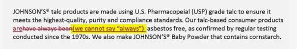 Znacznik oświadczenia dla witryny J&J z 2013 r. domyślnie uznaje możliwość, że talk firmy mógł zostać skażony w przeszłości.