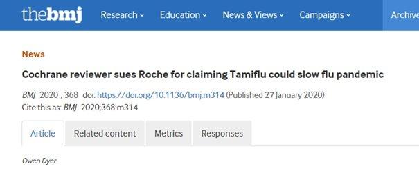 Firma Roche pozwana za Tamiflu przez recenzenta Cochrane