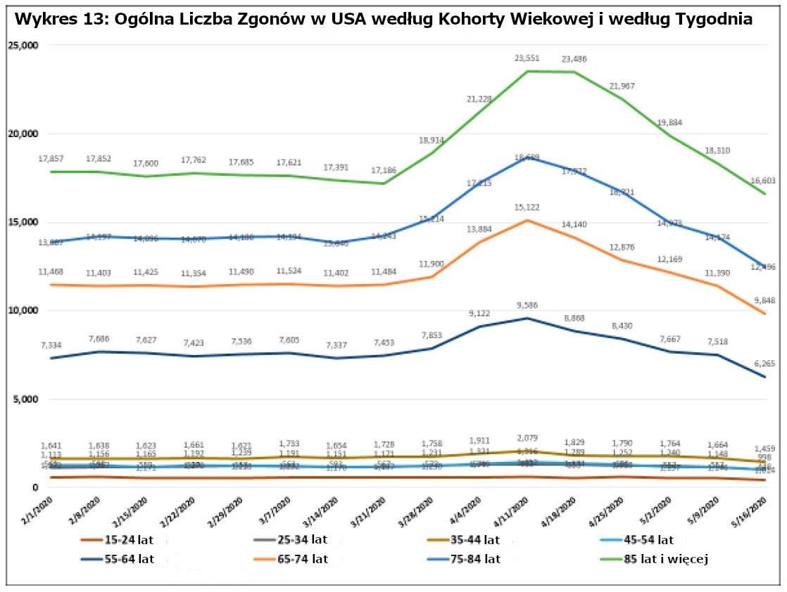 Wykres 13: Ogólna Liczba Zgonów w USA według Kohorty Wiekowej i według Tygodnia