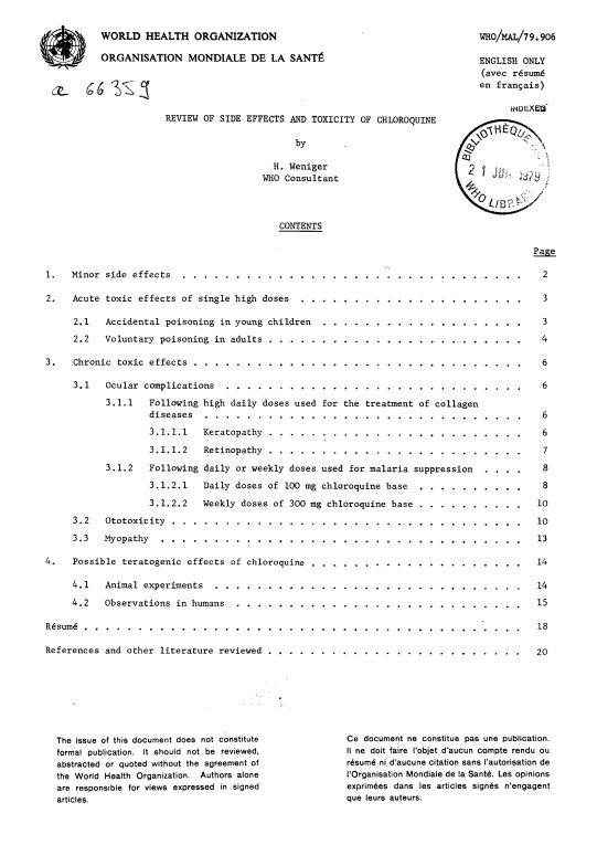 Przegląd skutków ubocznych i toksyczności chlorochiny - H. Weniger