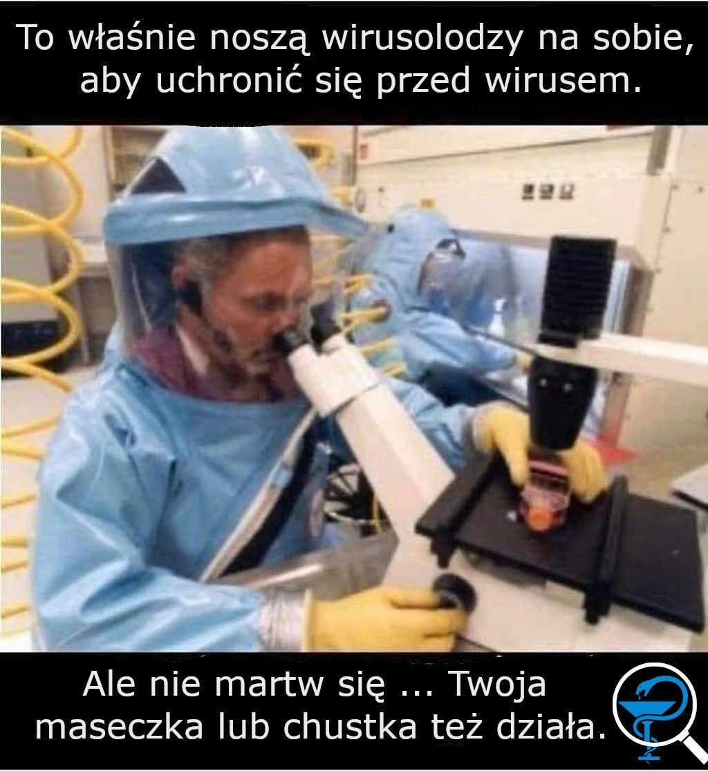 Ubrannie ochronne wirusologa w pracy