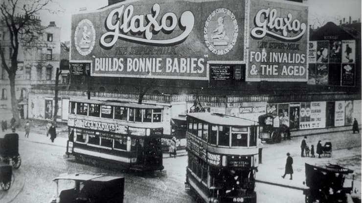 Historyczna reklama produktu dla niemowląt Glaxo