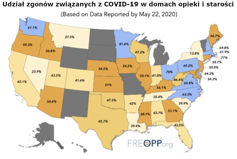 Udział zgonów związanych z COVID-19 w domach opieki i starości