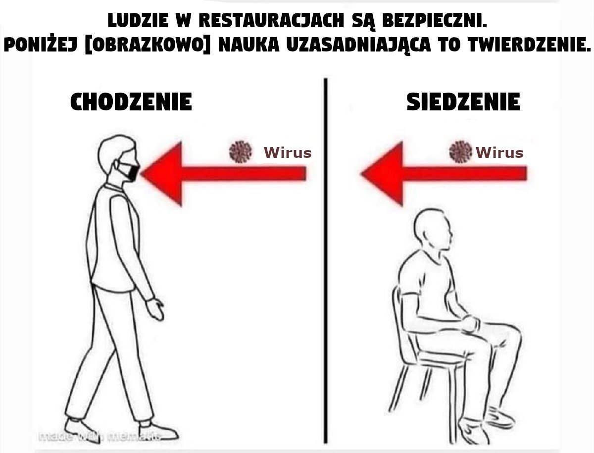 COVID nie rozprzestrzenia się kiedy siedzisz. Rozprzestrzenia się tylko wtedy kiedy chodzisz...