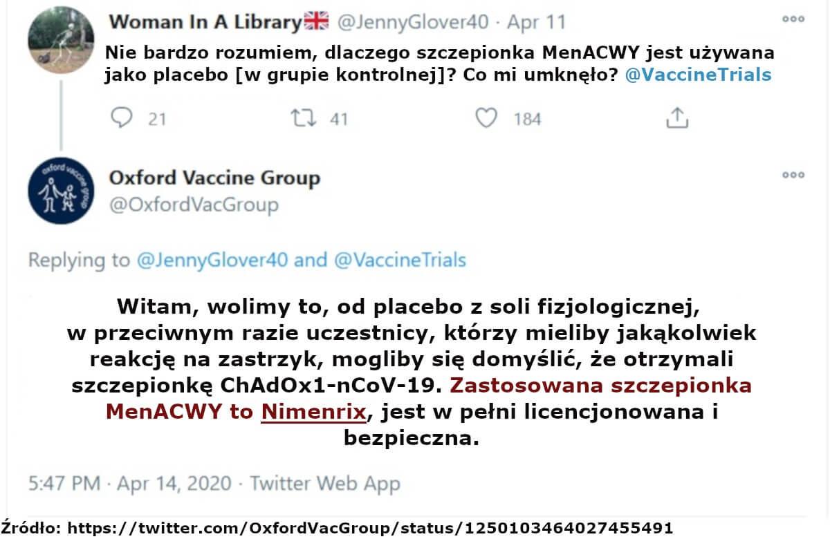 Placebo w badaniu ChAdOx1-nCoV-19 - Poprzeczne zapalenie rdzenia po szczepieniu