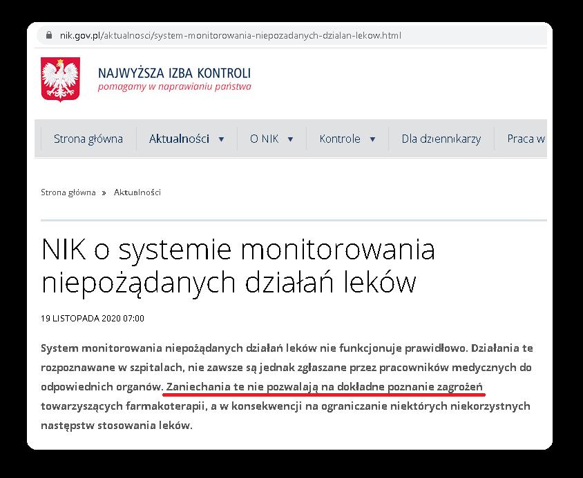 NIK o systemie monitorowania niepożądanych działań leków