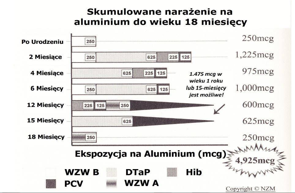 Skumulowane narażenie na aluminium do wieku 18 miesięcy