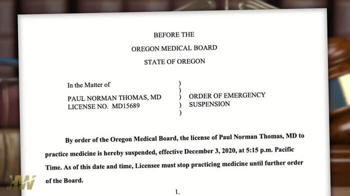 Dr Paul Thomas - Zawieszenie prawa wykonywania zawodu lekarza, 3 grudnia 2020