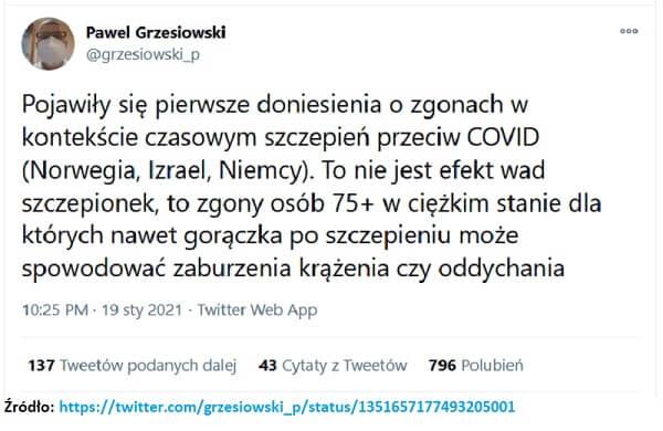 Dr Pawel Grzesiowski - osóby 75+ w ciężkim stanie nawet gorączka po szczepieniu może spowodować zaburzenia krążenia czy oddychania.