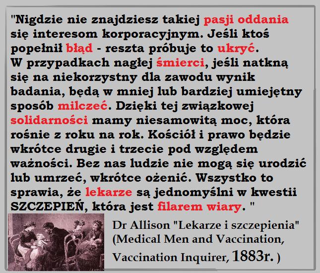 Lekarze i szczepienia - Dr Allison, 1883