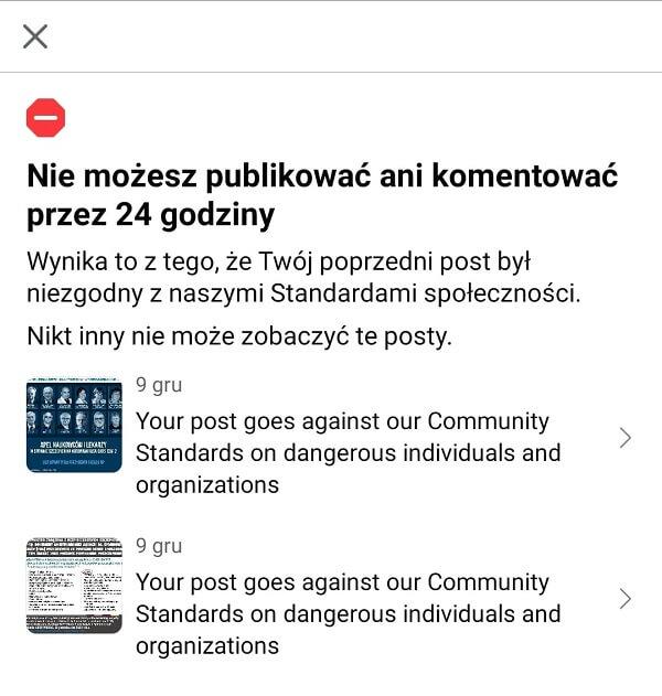 Nie możesz publikować ani komentować przez 24 godziny