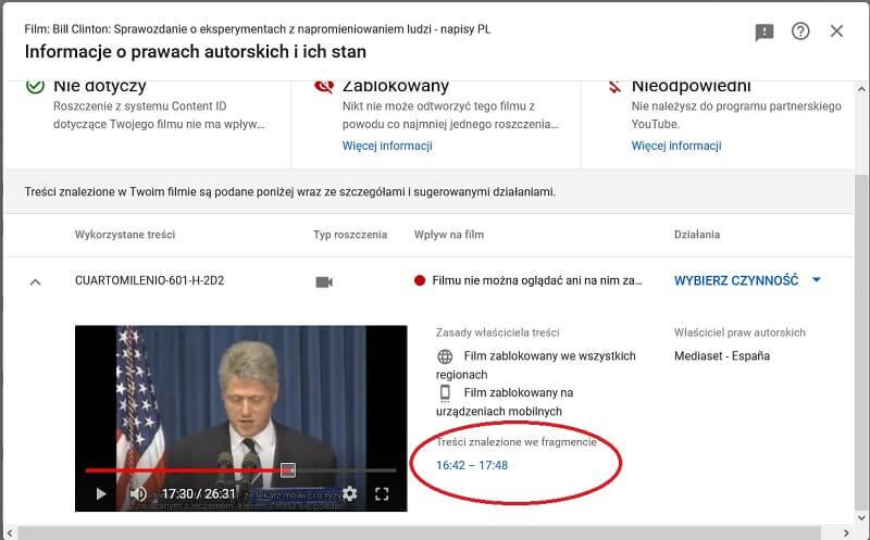 Przykład cenzury na YouTube - Bill Clinton o eksperymentach z napromieniowaniem ludzi