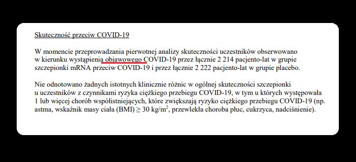 Szczepionka Pfizera - Skuteczność przeciw COVID-19 bezobjawowym
