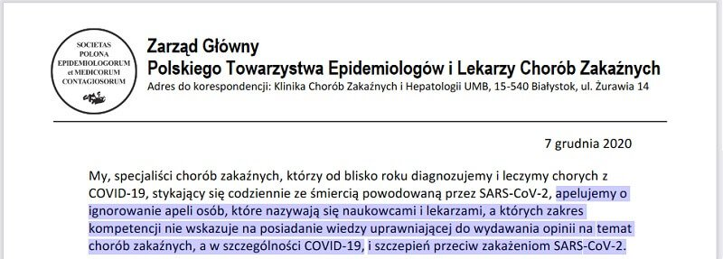 Konflikt Interesu w Zarządzie Głównym Polskiego Towarzystwa Epidemiologów i Lekarzy Chorób Zakaźnych