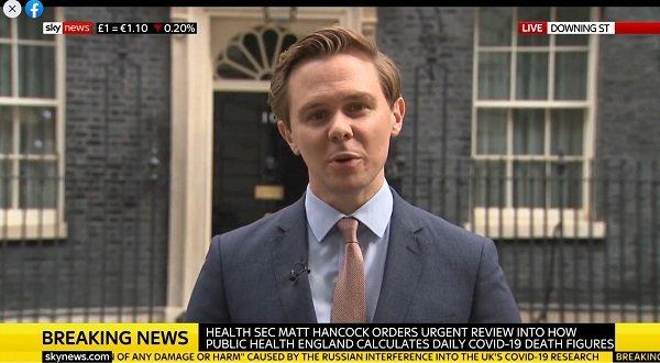 SKY NEWS o pompowaniu kowidowych statystyk w WIelkiej Brytanii