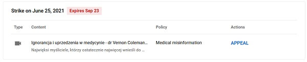 Ignorancja i uprzedzenia w medycynie - dr Vernon Coleman - ban na YT