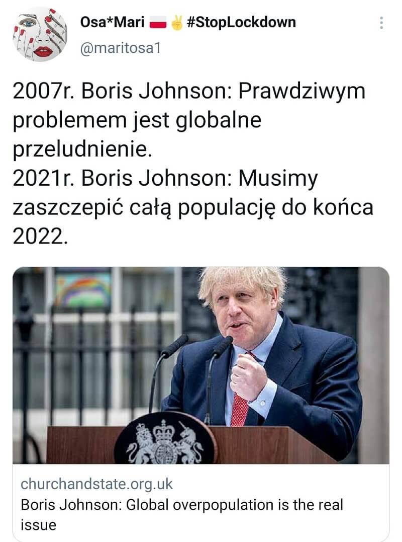 Boris Johnson: Musimy zaszczepić cała populację do końca 2022