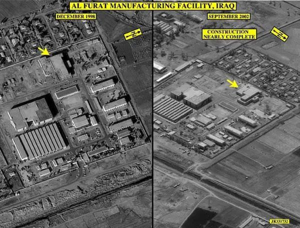 Obrazy EarthViewer, które pokazują zmiany w irackim zakładzie produkcyjnym na przestrzeni czasu.