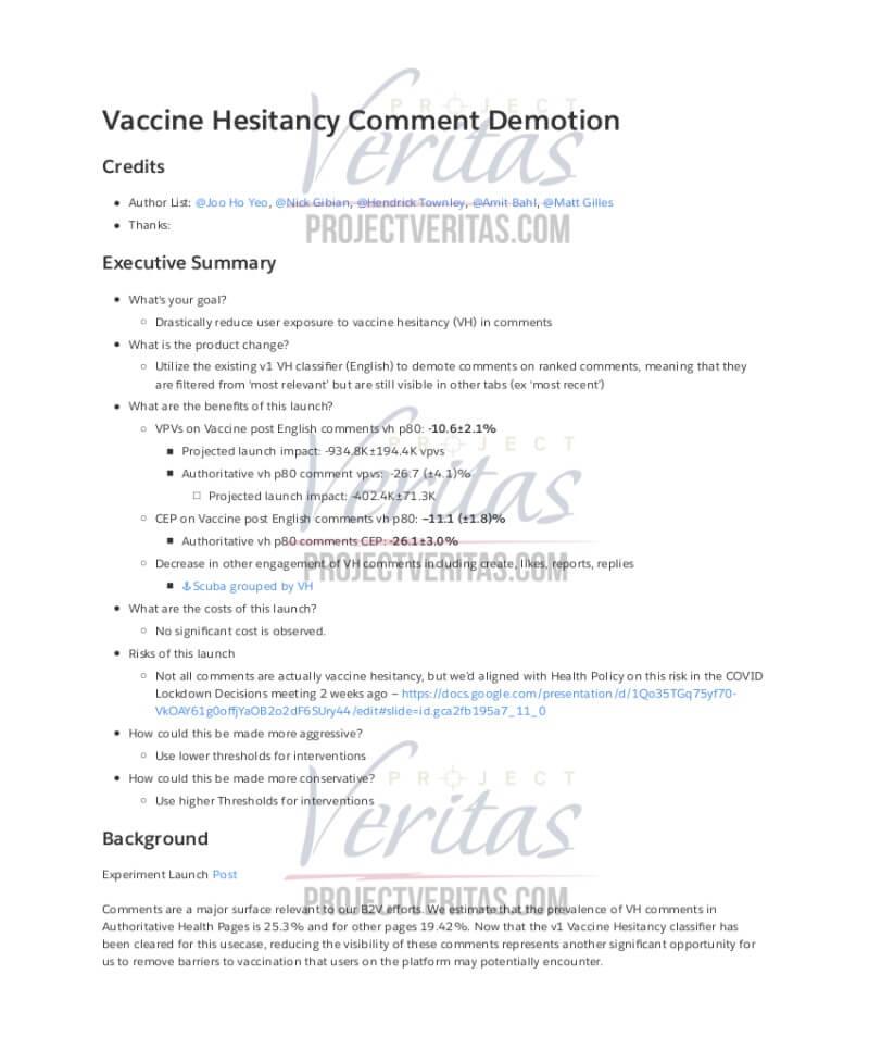 Project Veritas - Demaskatorzy z Facebooka o potajemnej cenzurze dotyczącej szczepionek na skalę globalną