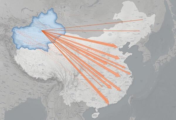 Transfery Ujgurów do innych części Chin w latach 2017-2020