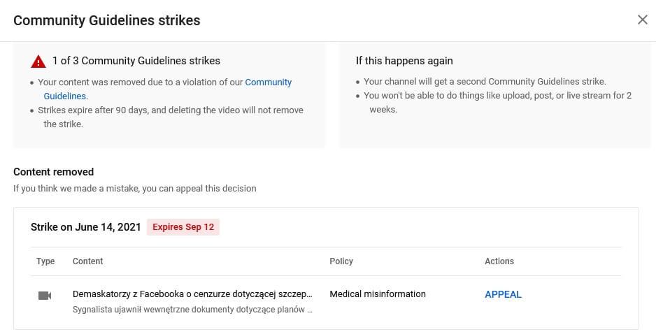 Youtube zbanował materiał Project Veritas - Demaskatorzy z Facebooka o potajemnej cenzurze dotyczącej szczepionek na skalę globalną