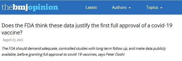 Czy dane posiadane przez FDA uzasadniają pierwsze pełne zatwierdzenie szczepionki przeciwko Covid-19?